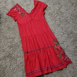 EUC Johnny was embroidered red floral dress - L